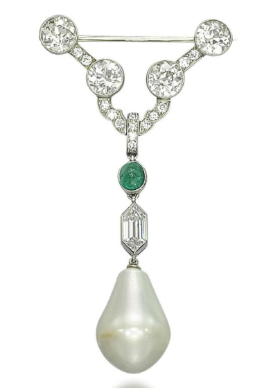 A NATURAL PEARL, EMERALD AND DIAMOND BROOCH   The drop-shaped natural pearl, weighing approximately 71.66 grains, with an hexagonal-cut diamond and cabochon emerald surmount, to the V-shaped pavé-set diamond top enhanced by four circular-cut diamond collets, 6.0 cm