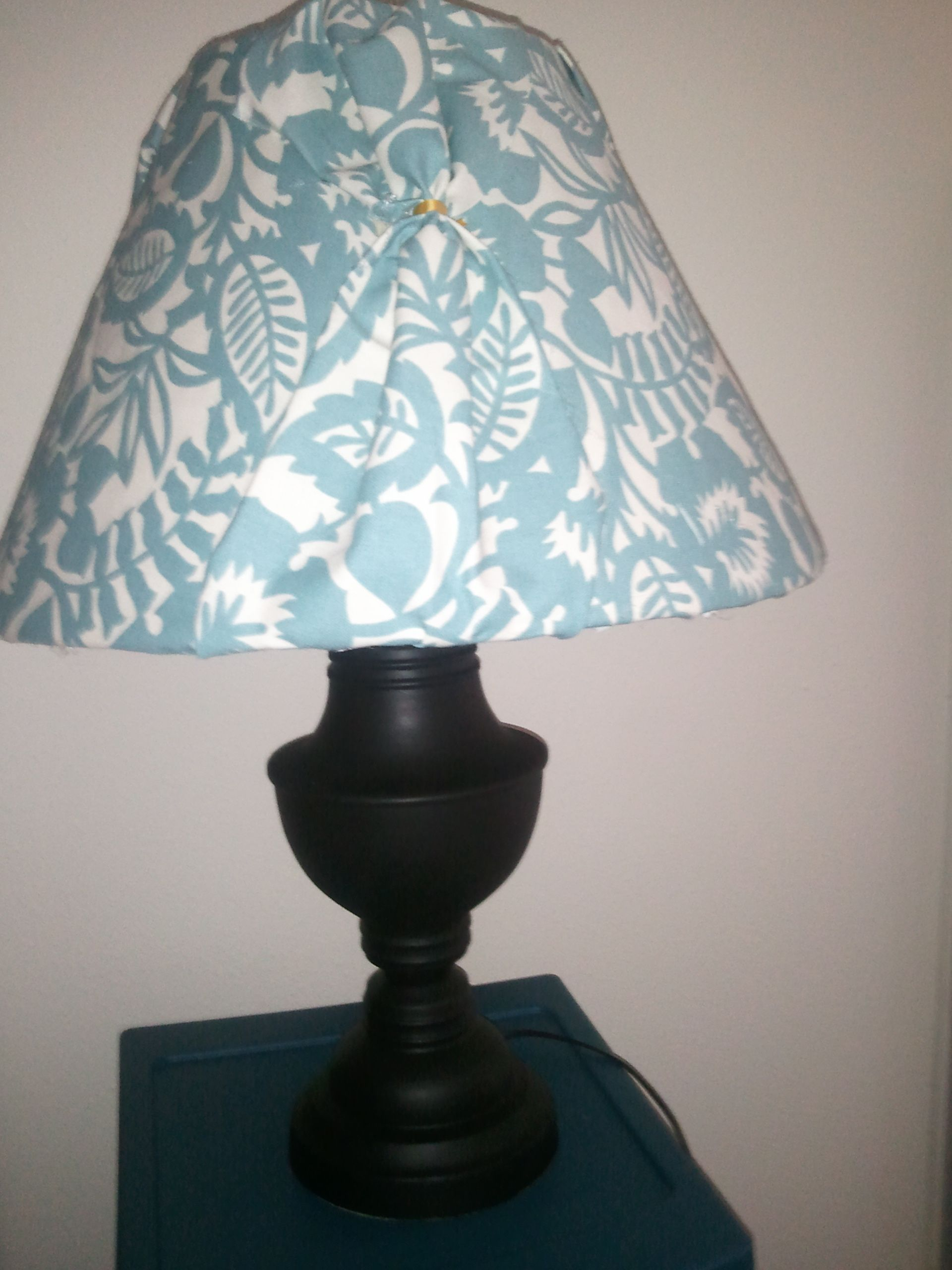 old ugly lamp painted black with shade covered in fabric