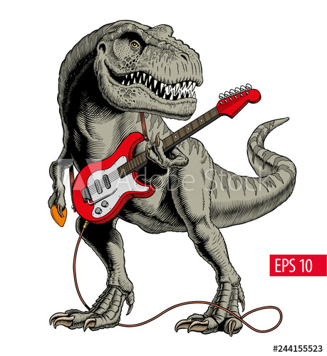 Dinosaur playing electric guitar. Tyrannosaurus or T. rex. Comic style vector illustration. - Buy this stock vector and explore similar vectors at Adobe Stock