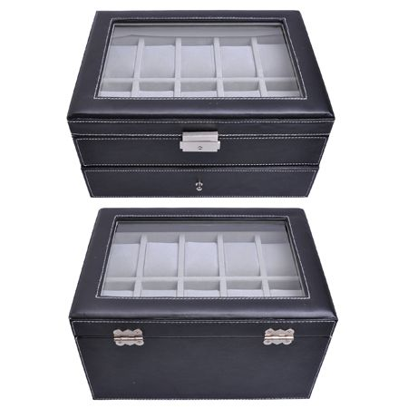 Large 20 Slot Leather Watch Box Display Case Organizer Glass Top