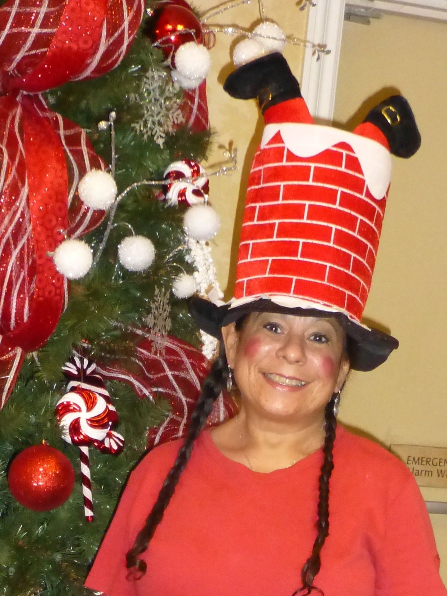 6302e80cf79ff Crazy hat Contest.... Santa falling down the chimney