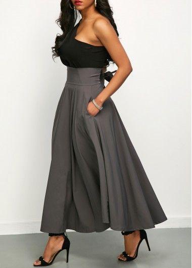 440212a9d43d73 One Shoulder Top and Front Slit Belted Skirt