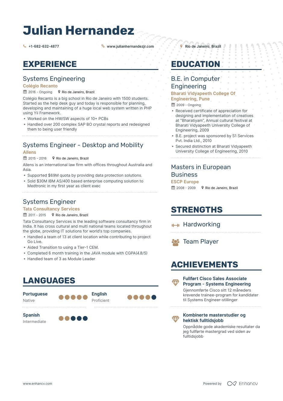 Systems Engineer Resume Examples Engineering resume