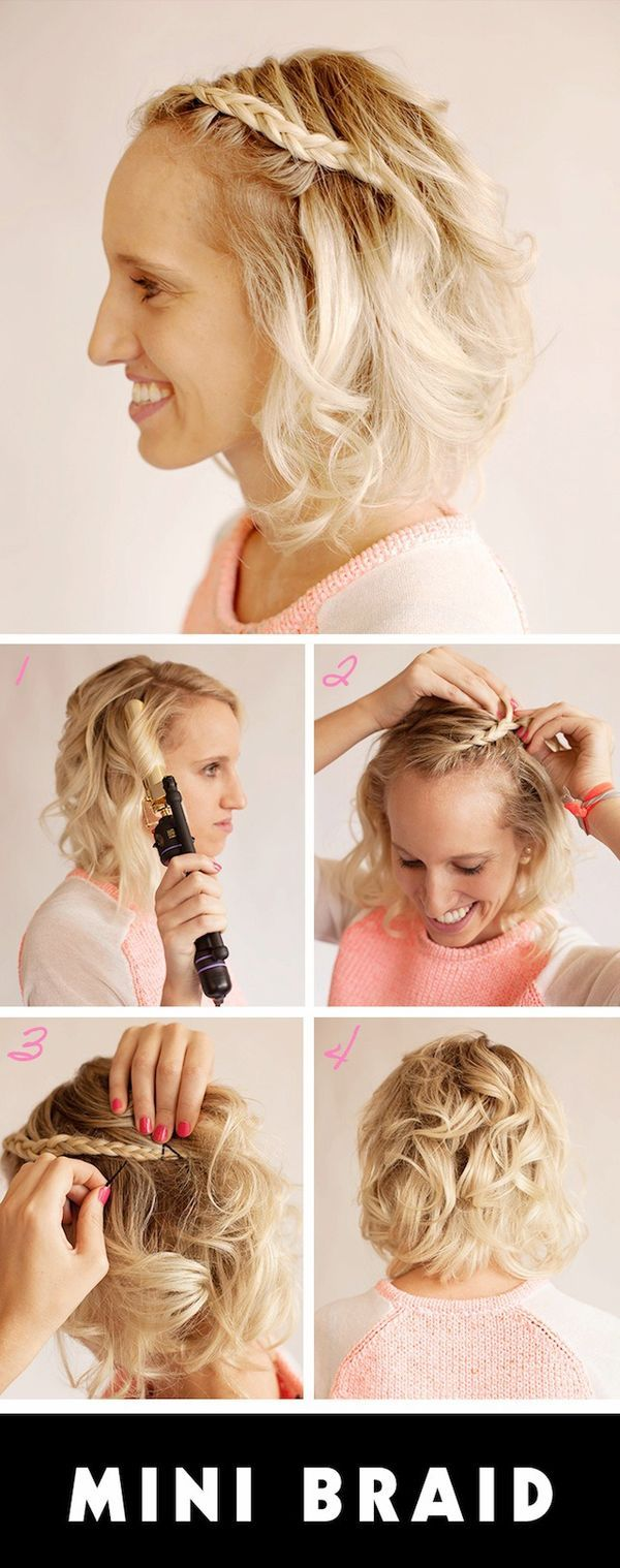 Short hairstyles with a mini braid. Cute!