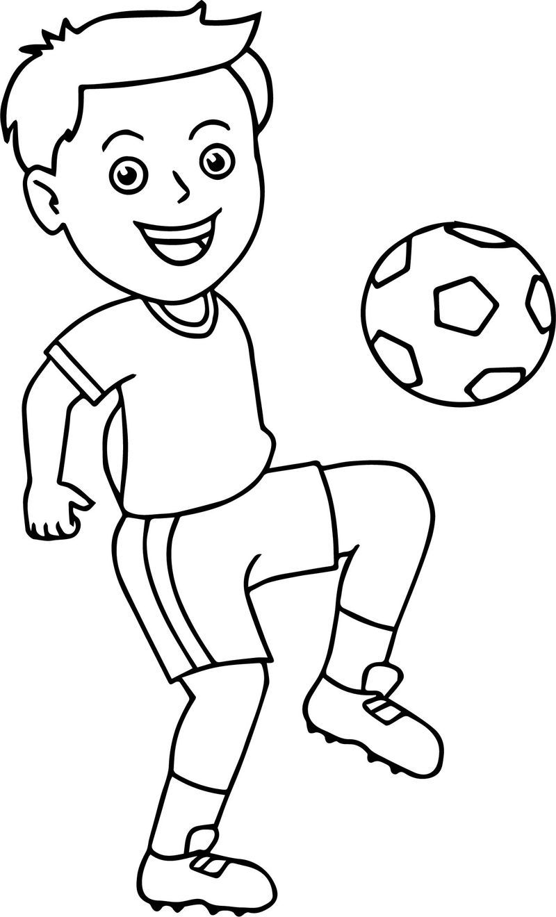 Soccer Boy Bouncing Soccer Ball On His Knee Playing Football