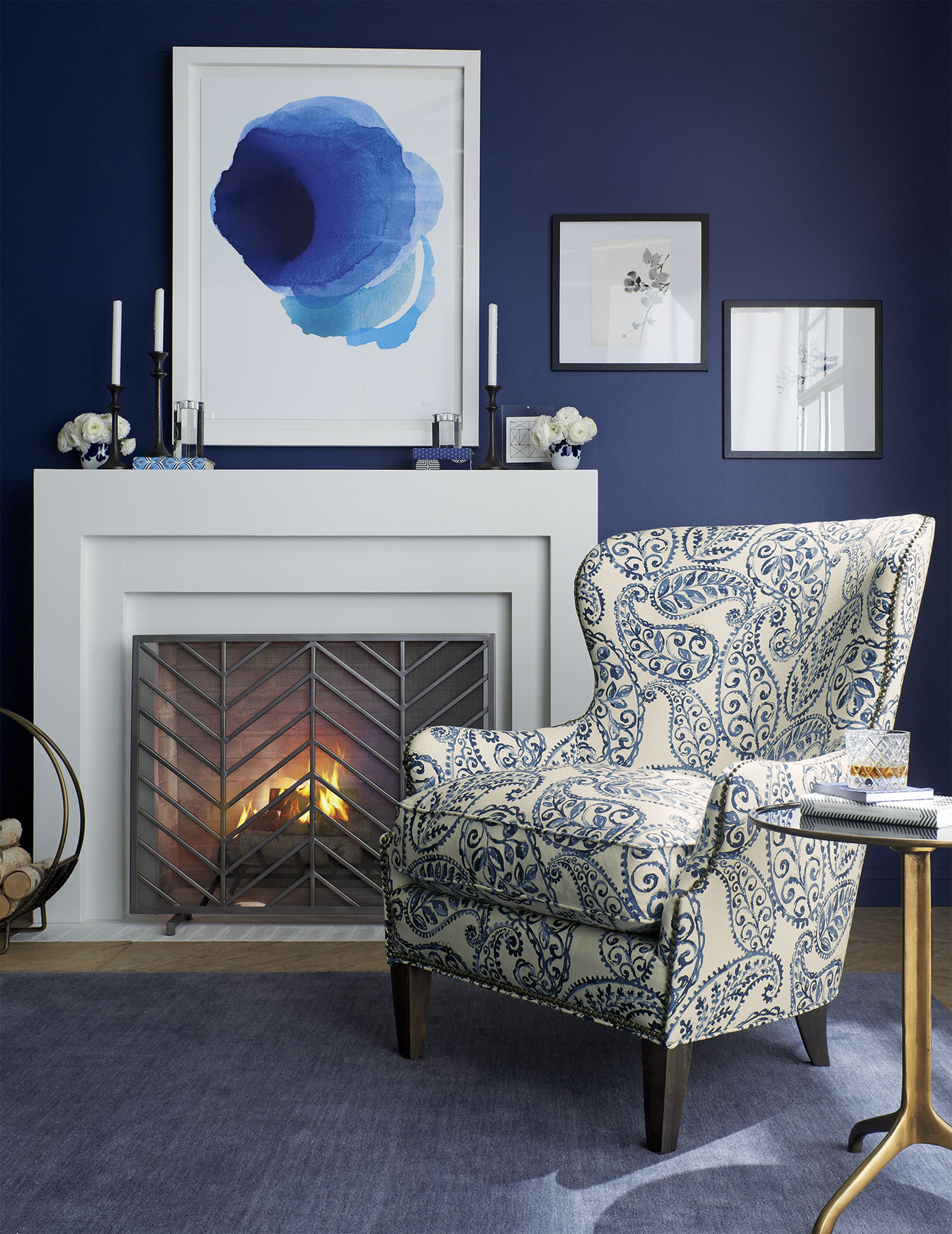 An Overscaled Paisley Print Makes The Brielle Wing Chair An Instant Statement Piece For The Living Room Comfor Living Room Chairs Blue Wool Rugs Budget Chairs #print #chairs #living #room