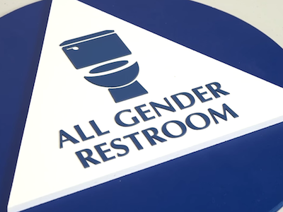 WATCH GenderNeutral Bathroom Signs Focus On Whats Inside The - All gender bathroom sign for bathroom decor ideas