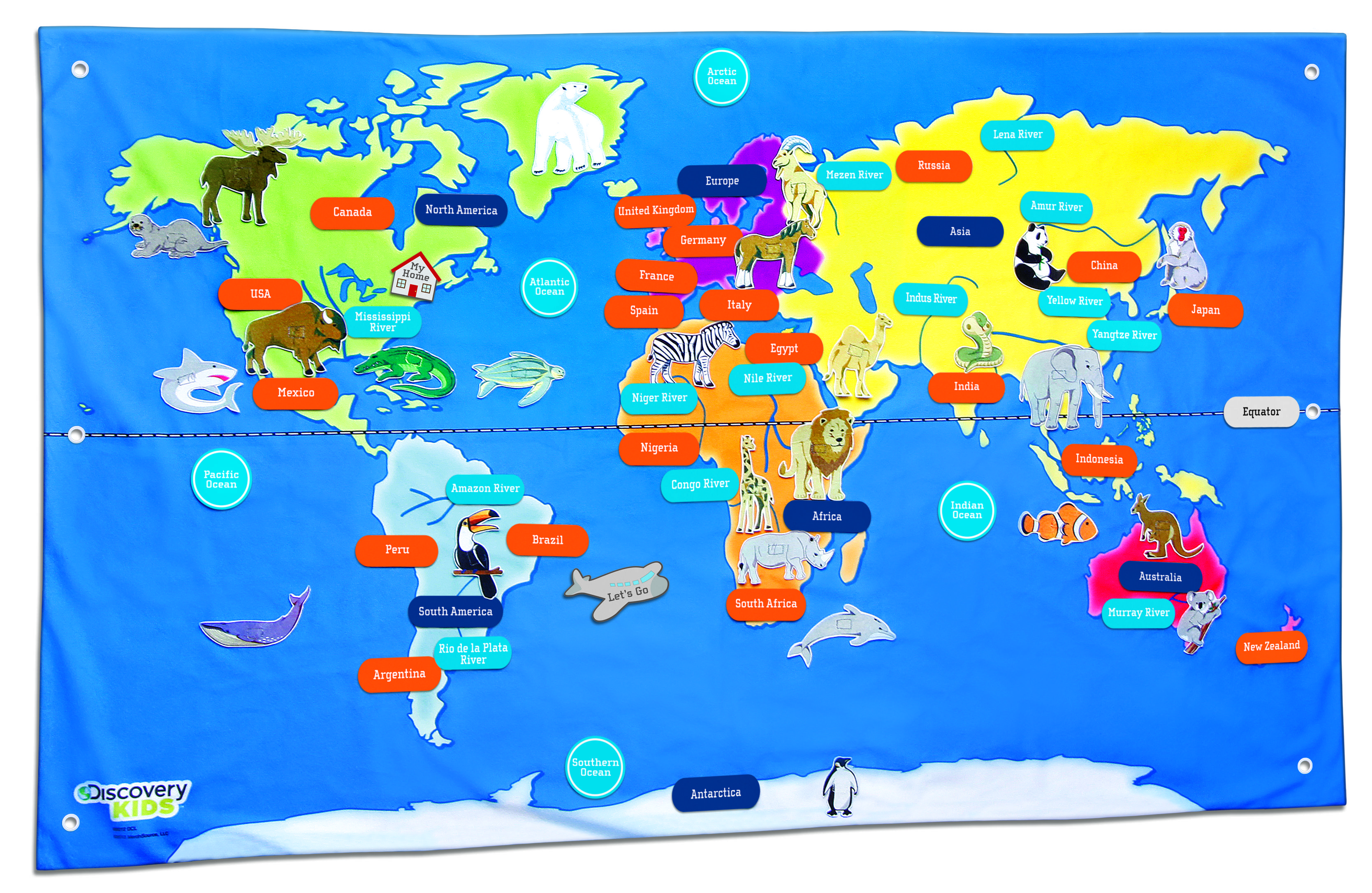 Dkmapeg 33362172 mission kids pinterest the discovery kids fabric acitivity world map from merch source is made out of soft felt like material with reinforced grommets for hanging gumiabroncs Choice Image