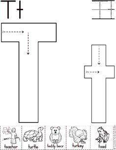 Alphabet Letter T Worksheet  Standard Block Font  Preschool