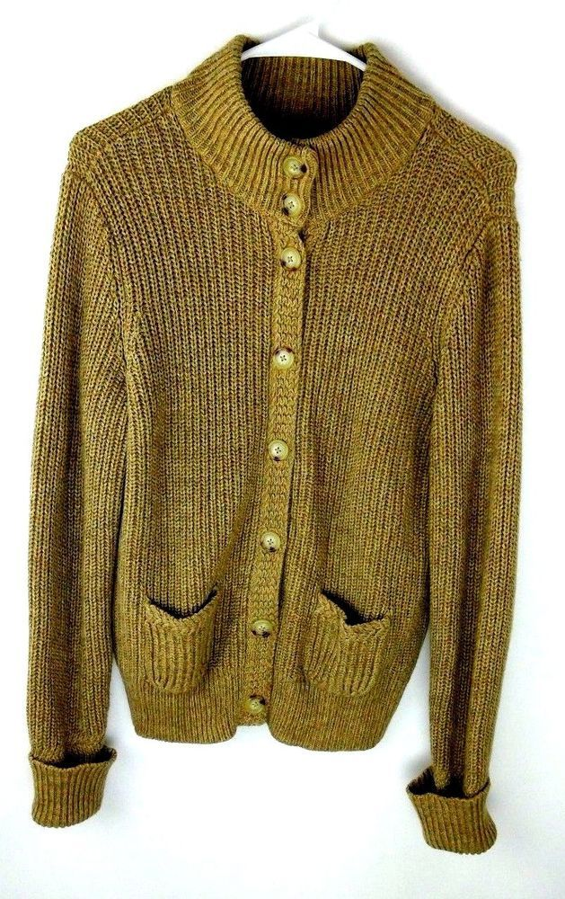 Lauren Ralph Lauren Chunky Cardigan Brown Cotton Sz L Button Front ...