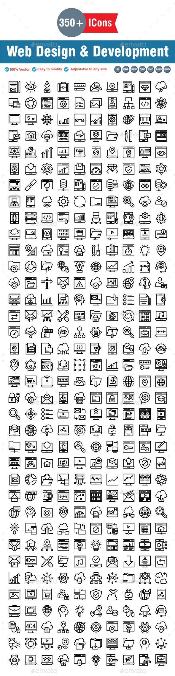 Web Design & Development Line icons Web development
