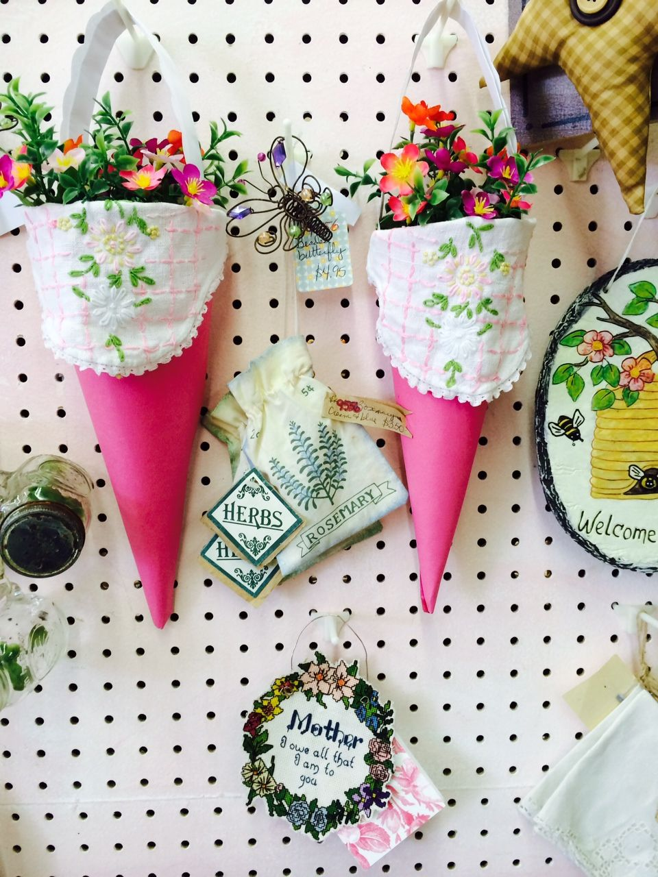 Our newest paper cones w/ embroidered linen! Spring 2016 ~ now w/ brighter flowers! Treasured Gifts ~ MW