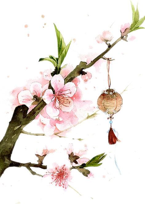 Green Leaves Peach Blossom Flower Blossoms Art Peach Blossom Flower Sakura Flower