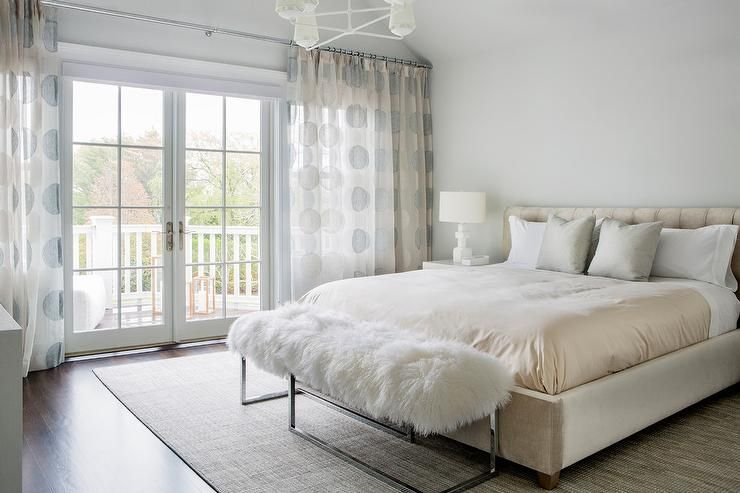 Cream Suede Bed With Sheepskin Bench Cream And Grey Bedroom
