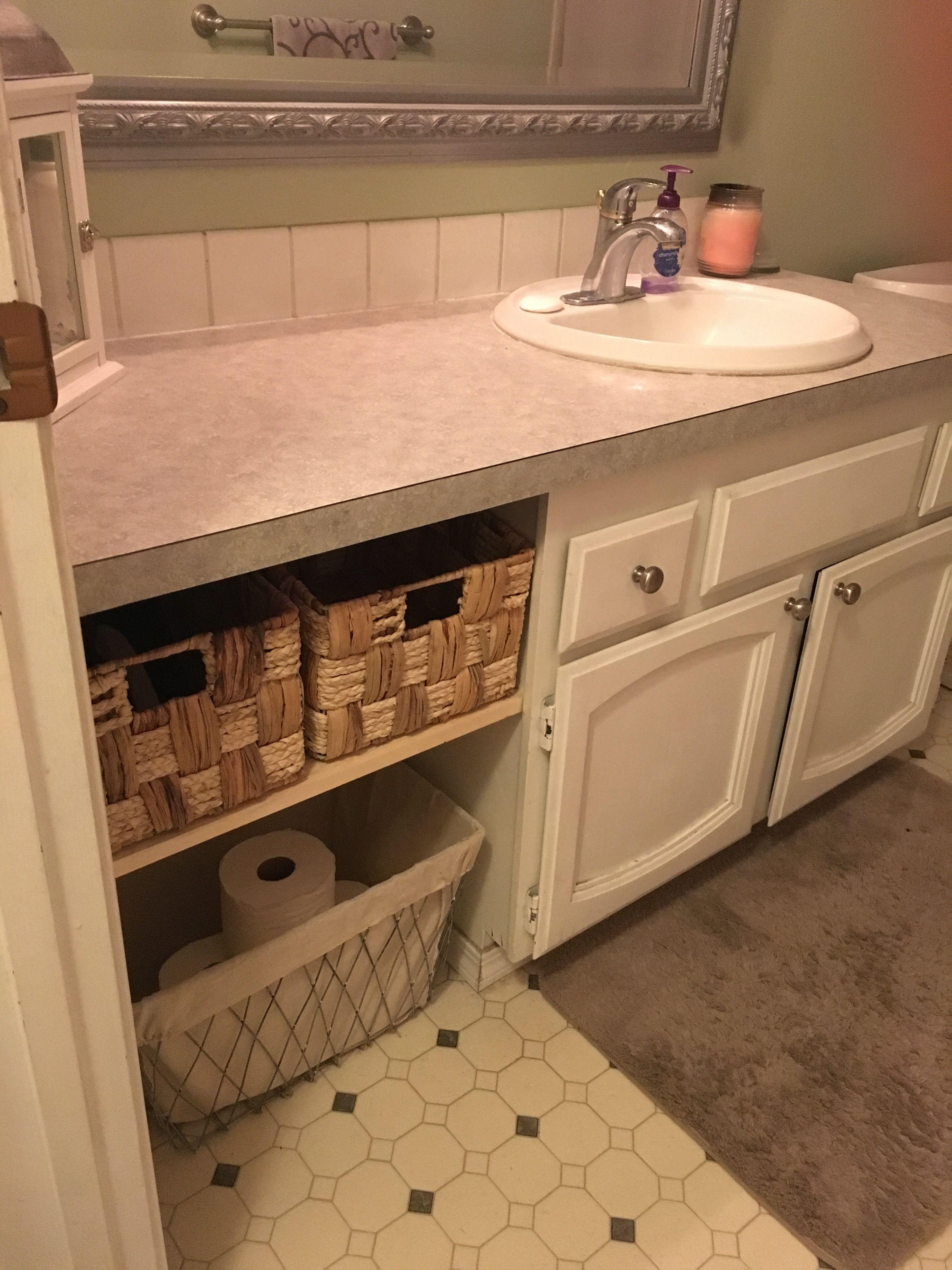 Adding Shelf To 70 S Bathroom Vanity Bathrooms Remodel Bathroom Vanity Bathroom