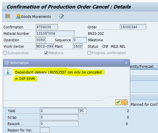Cancellation of Manufacturing Order in ERP and EWM | Sapspot