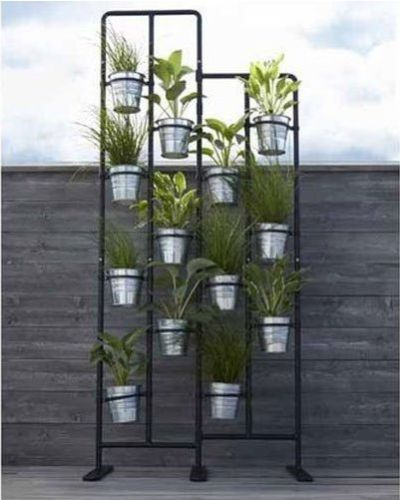 Room Divider Plant Stand Metal In-Outdoor Garden Decor Gray Screen Herbs  Pots - Room Divider Plant Stand Metal In-Outdoor Garden Decor Gray Screen