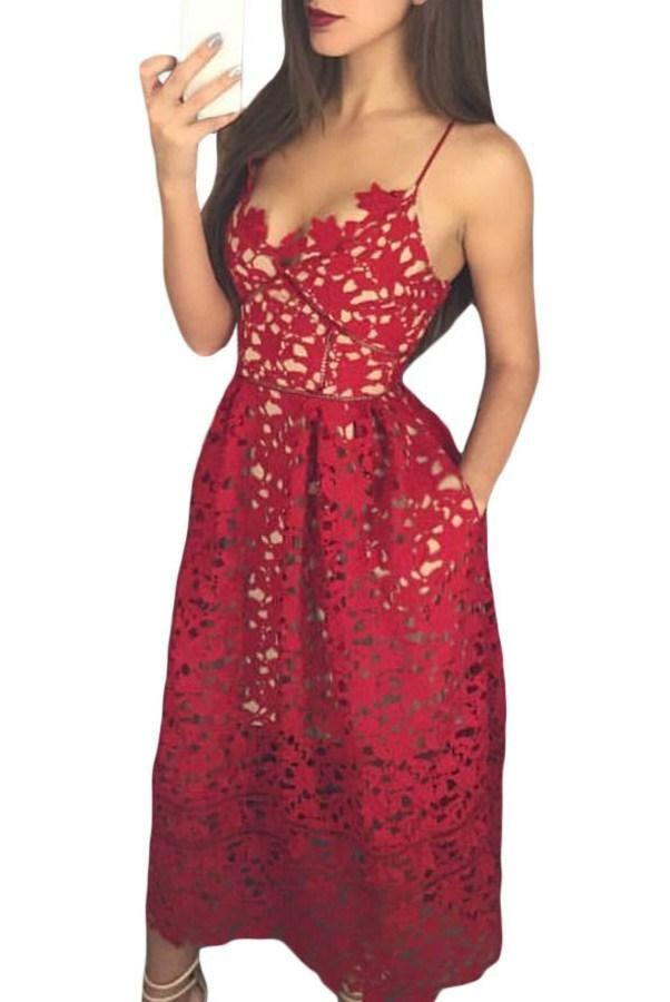 e5ead7cef9d Burgundy Lace Hollow Out Nude Illusion Cocktail Party Dress