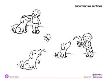 Coloring Page: My 5 Senses Theme: Kid and Dog | Five Senses Theme ...