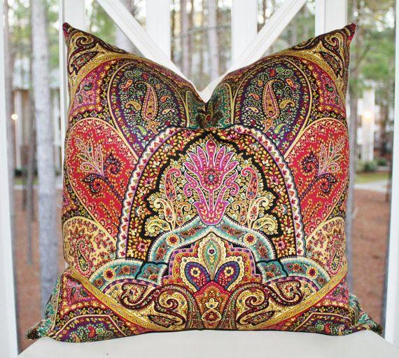 Wonderful 16 X 16 Modern Paisley Pillow   Burgundy Turquoise Purple Green Yellow  Geometric Pillow Cover