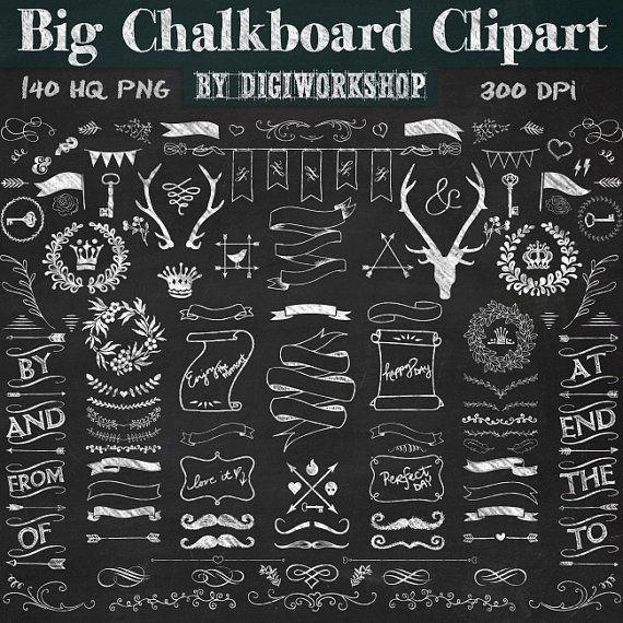 Chalkboard Clipart Big Chalkboard Clipart Contains Etsy Chalkboard Clipart Chalkboard Lettering Chalkboard Art