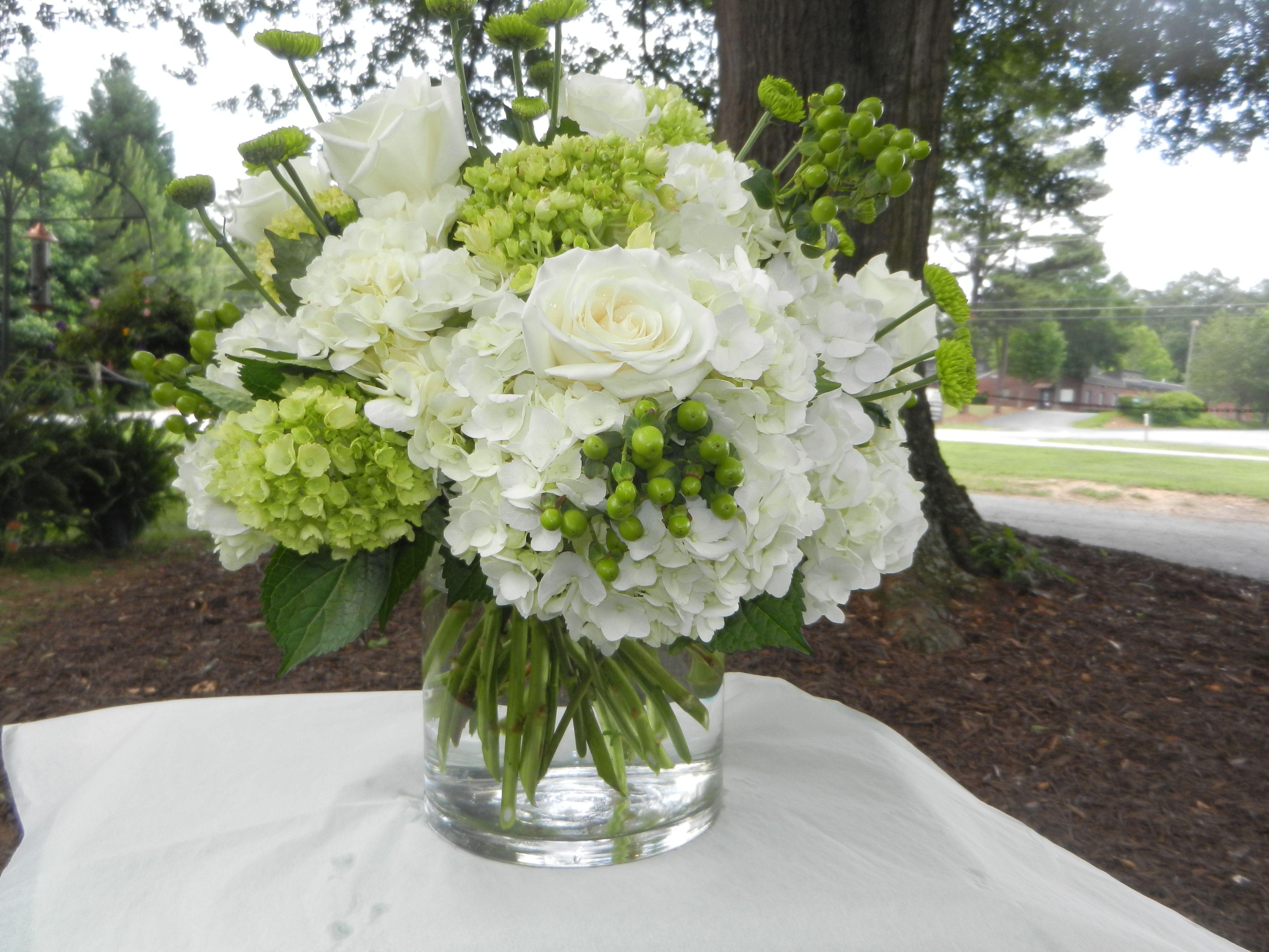 White hydrangea green roses