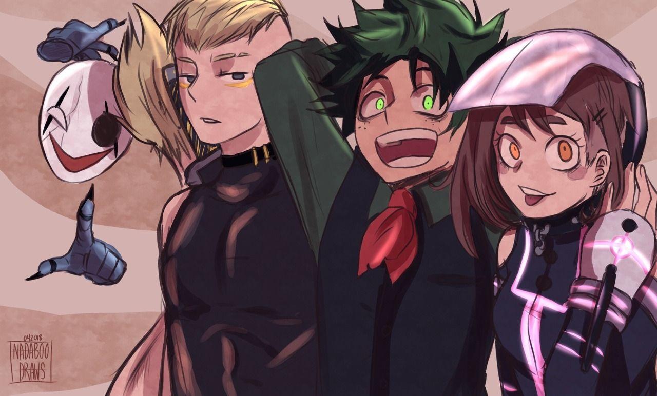Bnha Hagakure Ojiro Izuku Uraraka Villain Versions Villain Deku Hero My Hero Academia Manga