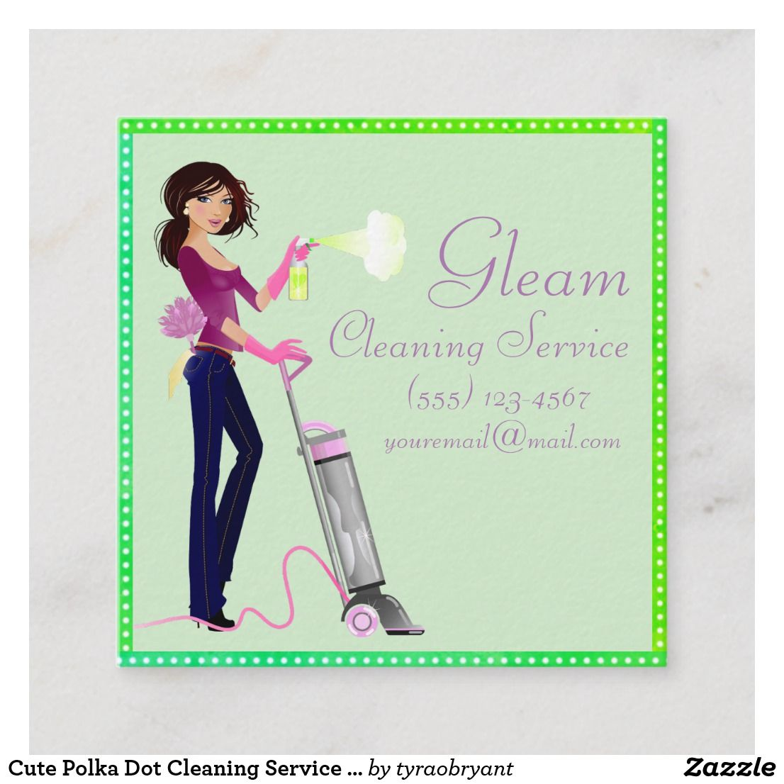 Cute polka dot cleaning service lady square business card