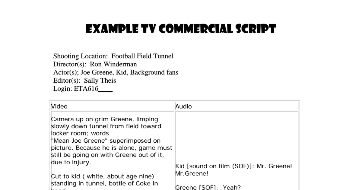 Image result for tv commercial script pdf | SHORT FILM