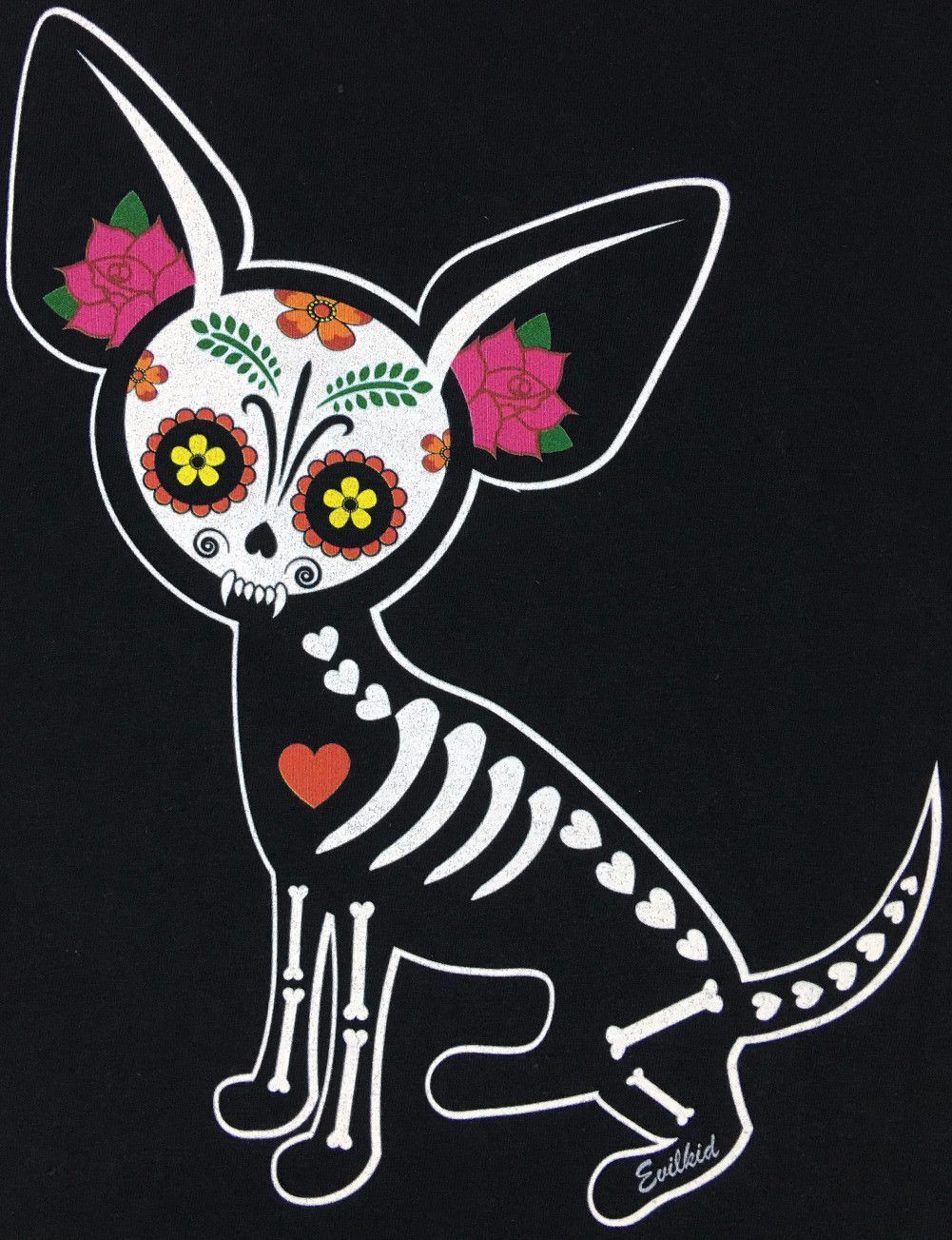 33906bcf Evilkid Chihuahua Muerta Sugar Skull Skeleton Dog Men's T-Shirt ...