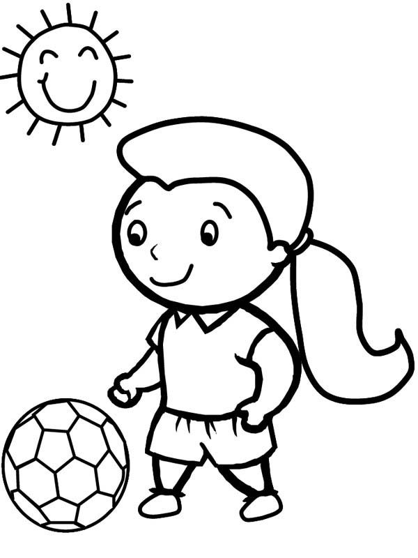A Cute Little Girl Playing Soccer In A Sunny Day Coloring