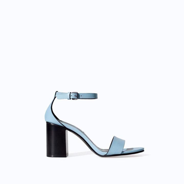 Wide Zara Zara Leather Heel Sandal Leather qw6ZZ