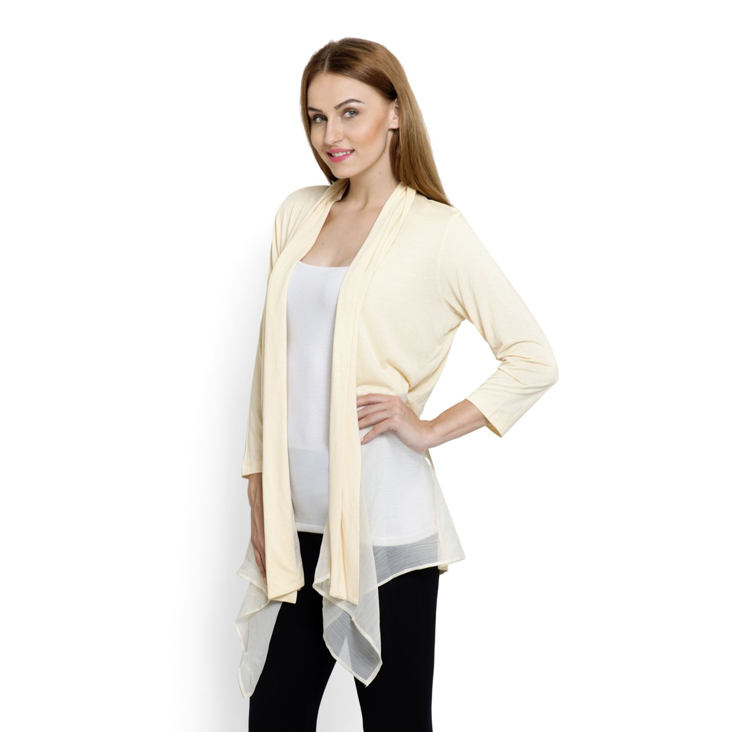 Beige 100% Viscose Long Sleeve Cardigan with Chiffon Trim (Free ...