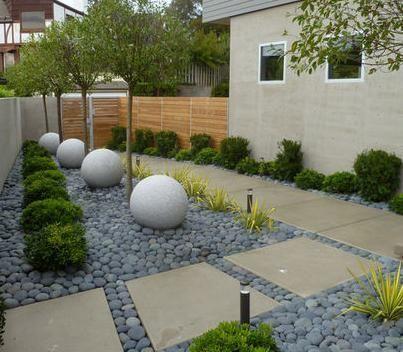 Dise o de jardin con piedras jardines pinterest for Jardines grandes diseno