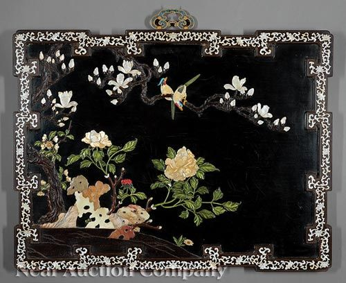 Chinese Hardstone and Mother-of-Pearl Panel