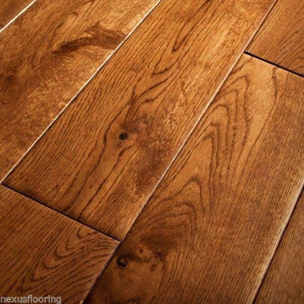 18mm X 150mm Hand Scraped Tobaccogolden Oak Solid Flooring Real
