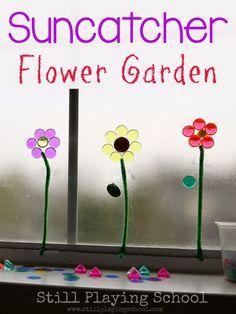 Sticky Window Suncatcher Flower Garden for Fine Motor Practice for Kids from Still Playing School