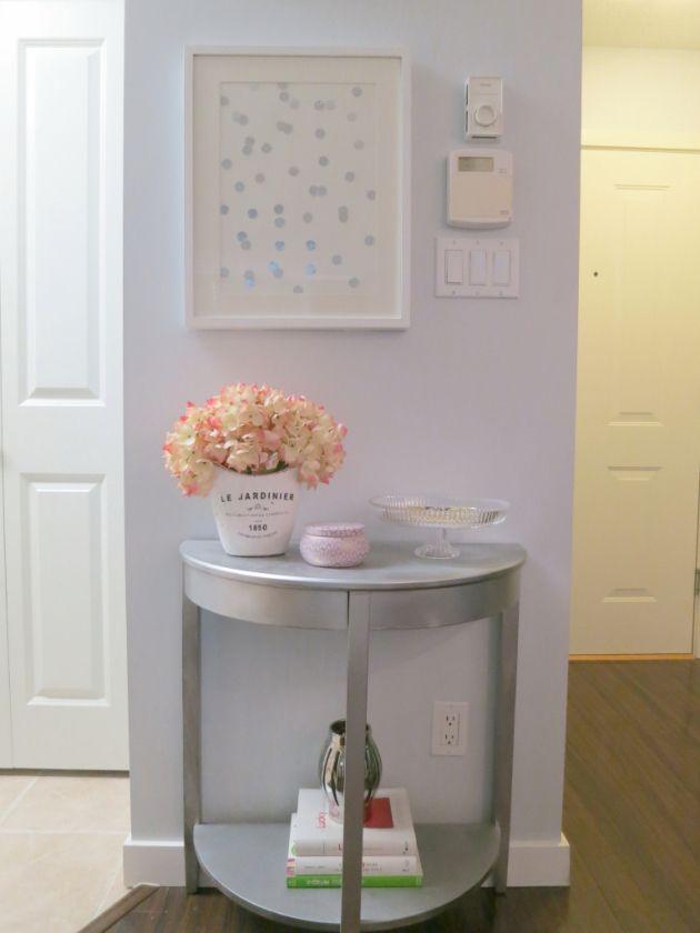 Diy Silver Half Moon Table Polka Dot Framed Art Bedroom