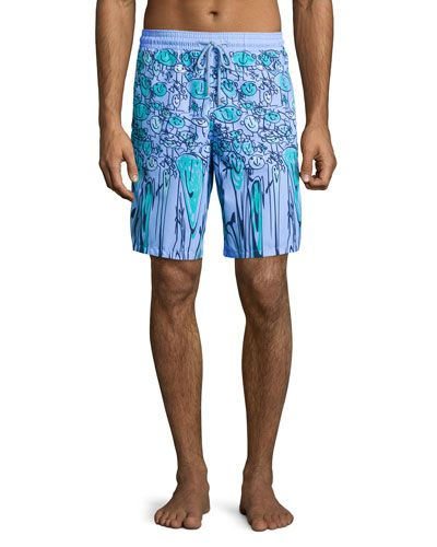 e84cd234c003b N3MRE Vilebrequin Okoa Happy-Face Printed Boardshorts, Blue | Man Oh ...