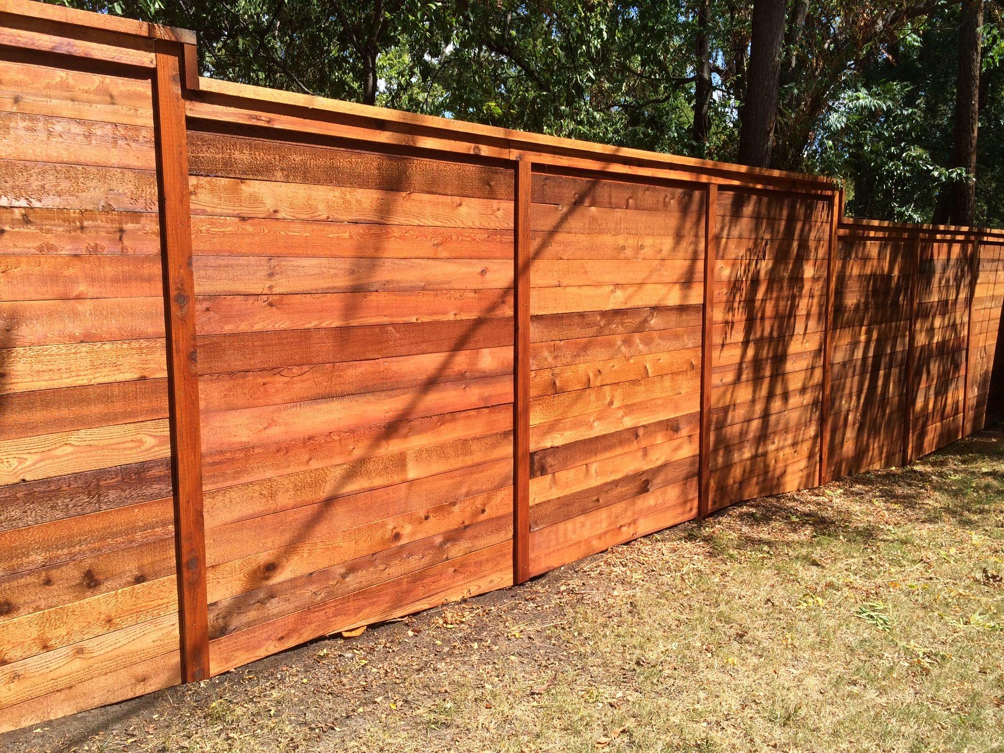 8 H Horizontal Cedar Privacy W Cap Trim Stained Fence Design