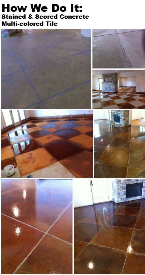 How We Do It Scoring Lines In A Multi Colored Stained Concrete