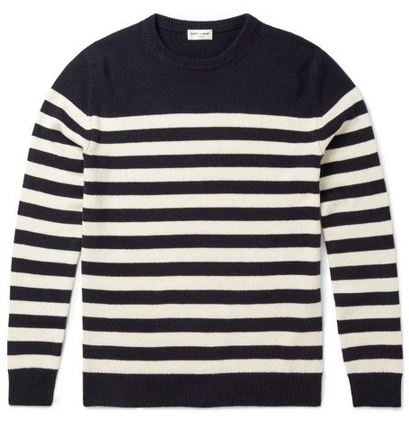 St. Laurent Breton-stripe cashmere sweater, as seen on Daveed ...