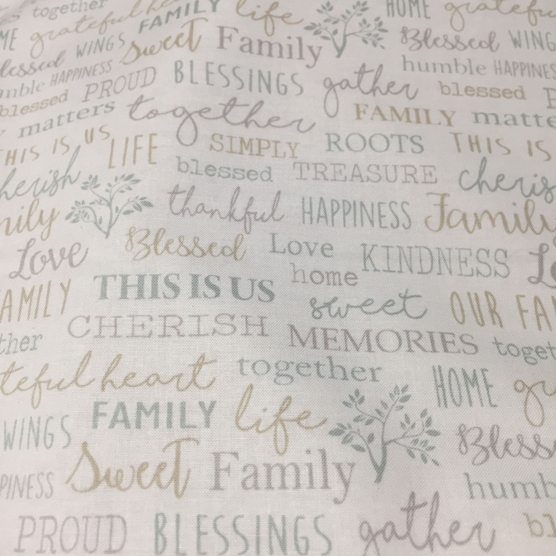 Family Words in Cream, Farm Sweet Farm, Inspirational Text