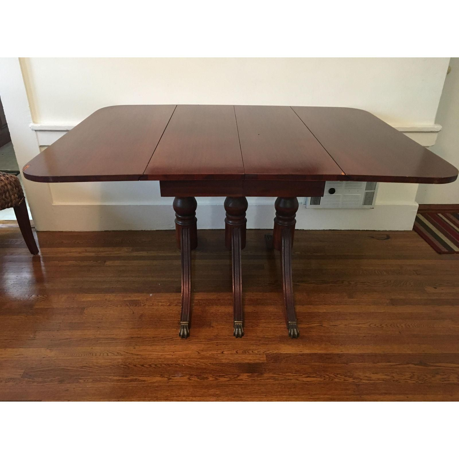 Image Of 1940s Antique Mahogany Drop Leaf Dining Table