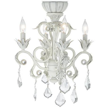 4 Light Rubbed White Chandelier Ceiling Fan Light Kit Ceiling