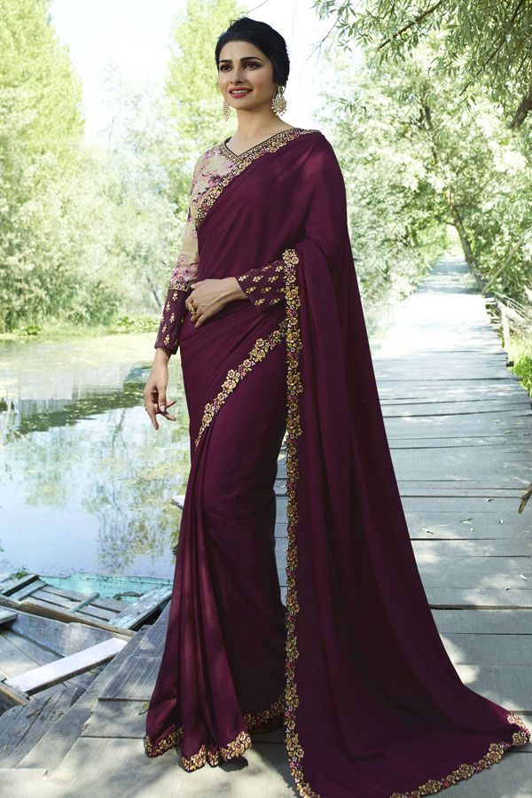 a375cd59576d64 Add This New Shade To Your Wardrobe With This Designer Saree In Wine Color  Paired With Cream And Wine Colored Blouse. This Saree Is Soft Silk Based  Paired ...