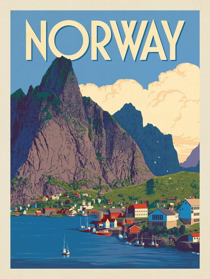 Anderson Design Group World Travel Norway Tourism Poster Travel Posters Travel Prints