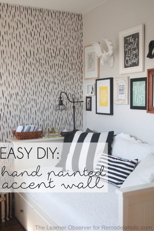 Remodelaholic Easy Diy Hand Painted Brushstroke Accent Wall Wall Bedroom Diy Accent Wall Bedroom Paint Accent Wall Bedroom