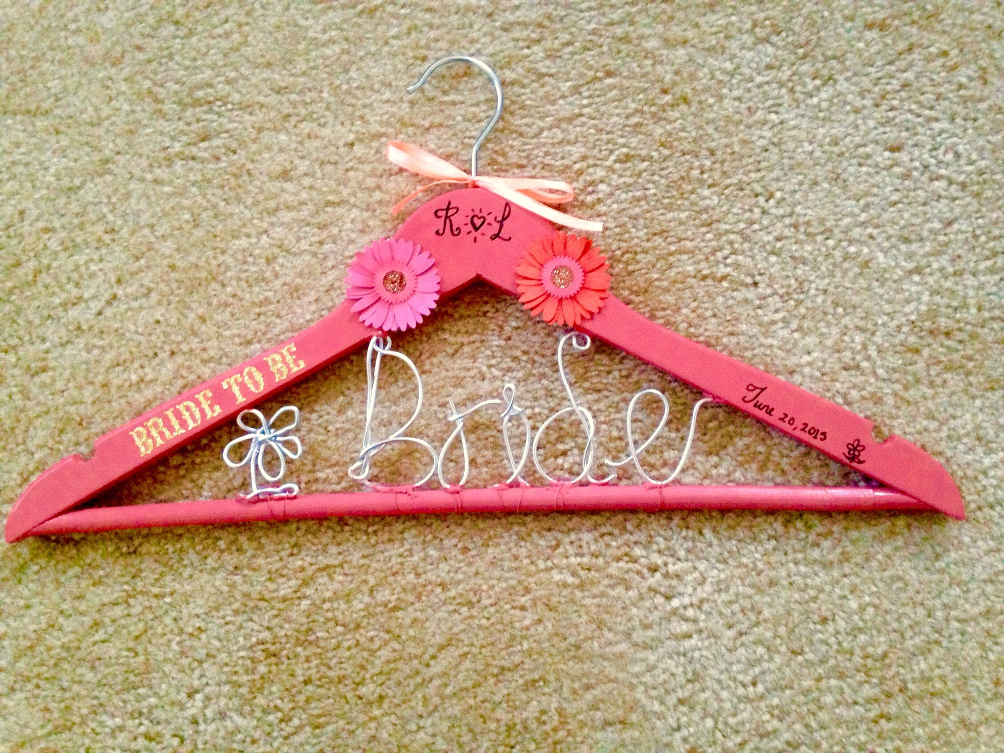 Hanger done by me:) great for picture memories on a bride's special day!
