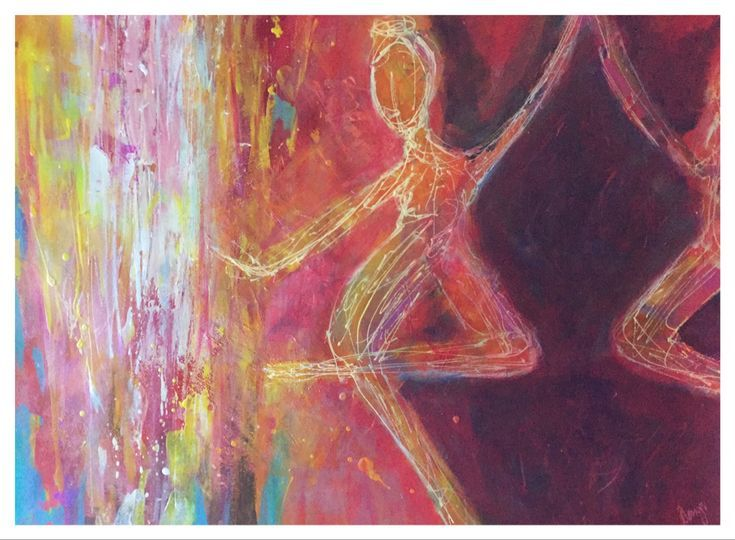 Dance toward the light Acrylic on paper framed in white mount behind ...
